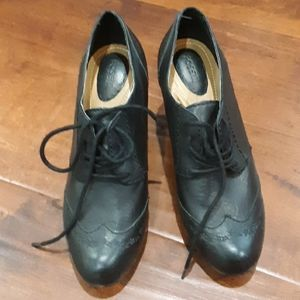 FOSSIL SAVANNA LEATHER LACE UP SHOES BLK 8